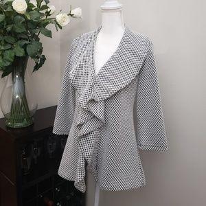 Calvin Klein Black/White Checkered Lapel Jacket